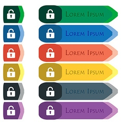 Open Padlock icon sign Set of colorful bright long vector image