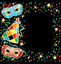 Party with carnival masks on black background vector
