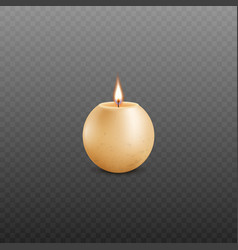 realistic sphere shaped burning candle made of vector image