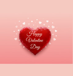 red heart on pink background in form of polygonal vector image
