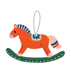 rocking horse christmas tree toy cute new year vector image