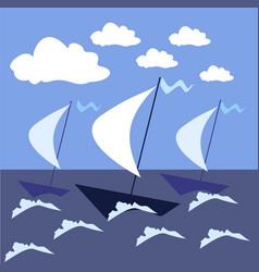Sail the high seas ships in a stormy sea vector
