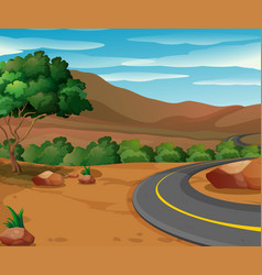 scene with road to the countryside vector image