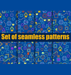 seamless pattern set with geometric figures vector image