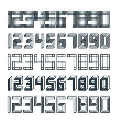 Set 5 geometric font line digital effect design vector