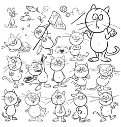 set hand drawn cats vector image