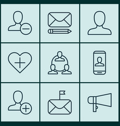 set of 9 social network icons includes remove vector image vector image