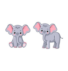 set with little elephants in different poses on a vector image