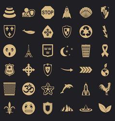 Shield emblem icons set simple style vector