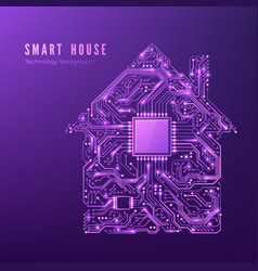 smart house concept circuit home isolated on vector image