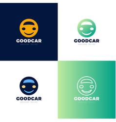 smile car logo design template car face in circle vector image