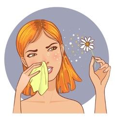 Sneezing in handkerchief woman because of allergy vector