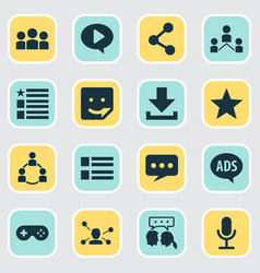 Social icons set with communication sticker form vector