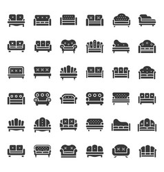 sofa and chair solid icon set vector image