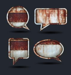 Speech bubble icons grunge metal background vector
