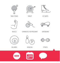 Target table tennis and fitness sport icons vector