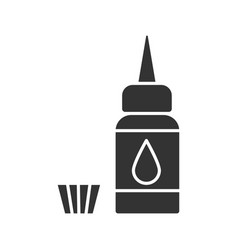 Tattoo machine ink and cap glyph icon vector