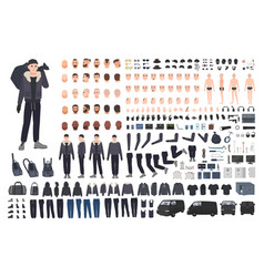 Thief burglar or criminal creation set or diy kit vector