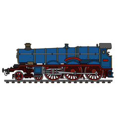 Vintage blue steam locomotive vector