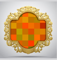 Vintage classic frame with colorful checkered vector