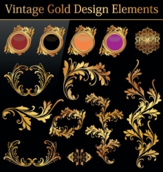 Vintage gold design element vector