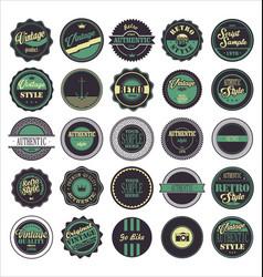 vintage labels purple and green set vector image