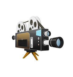 vintage movie camera entertainment and recreation vector image