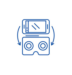 virtual glasses for gadgets line icon concept vector image