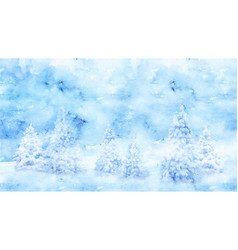 watercolor winter landscape vector image