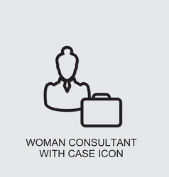 Woman consultant with case icon vector