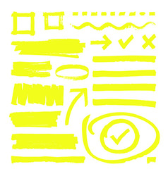 Yellow highlighter lines arrows and frame boxes vector