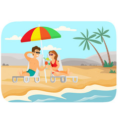 young couple is sitting in sun loungers vector image