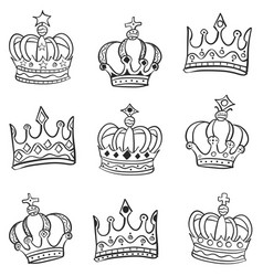 doodle of crown various style vector image vector image