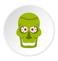 green zombie skull icon circle vector image vector image