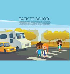 multiracial kids walking across pedestrian vector image vector image