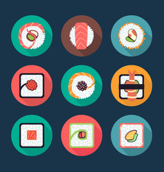 sushi and rolls icons vector image
