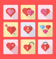 various flat style heart icons set vector image vector image