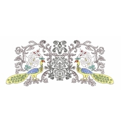 Watercolor pattern with tropical peacock birds and vector image