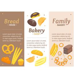 cartoon color bakery banner card vecrtical set vector image