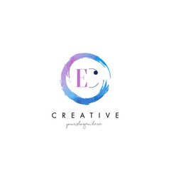 ec letter logo circular purple splash brush vector image vector image