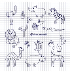 Hand-draw African animals vector image vector image