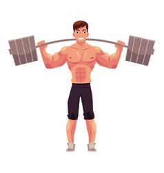 Man bodybuilder weightlifter working out vector