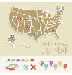 Retro handdrawn US map travel vector image vector image