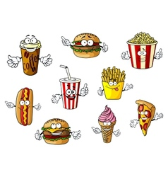 Cartoon fast food and takeaways characters vector image