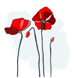 Red poppies on a sky background vector image vector image