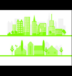2 green city silhouette in flat design eco vector image