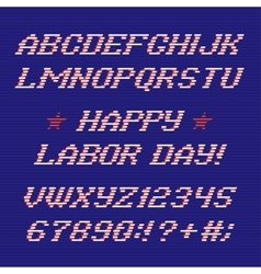 Happy labor day font and numbers vector image