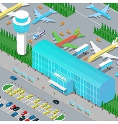 Isometric Airport Infrastructure with Planes vector image