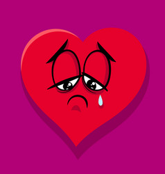 sad broken heart cartoon vector image