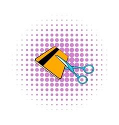 Scissors cut credit card icon comics style vector image